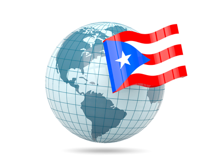 puerto rico: Globe with flag of puerto rico. 3D illustration