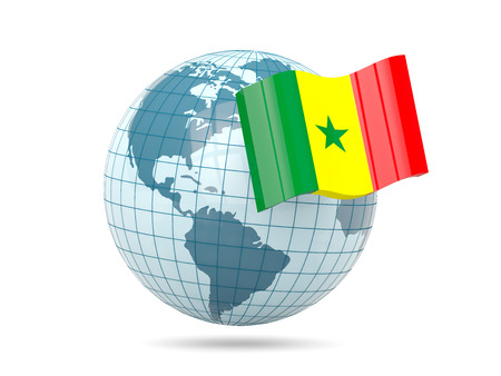 senegal: Globe with flag of senegal. 3D illustration Stock Photo