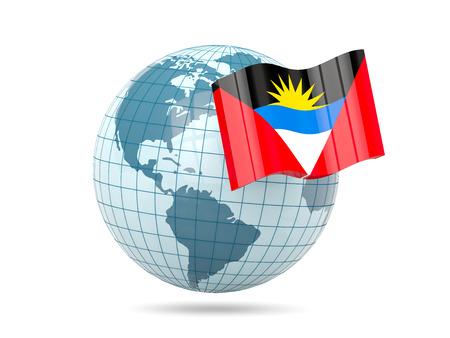 antigua: Globe with flag of antigua and barbuda. 3D illustration