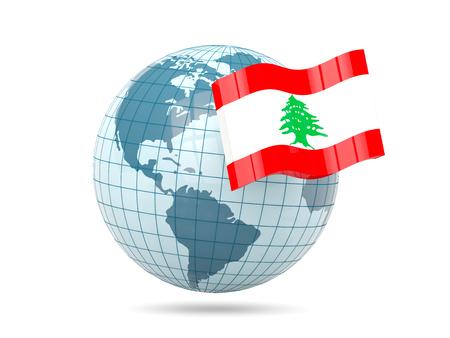 lebanon: Globe with flag of lebanon. 3D illustration Stock Photo