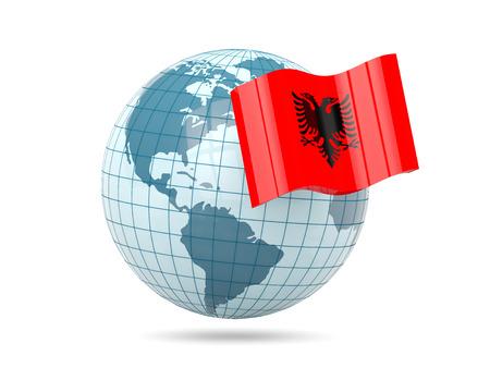 albania: Globe with flag of albania. 3D illustration Stock Photo