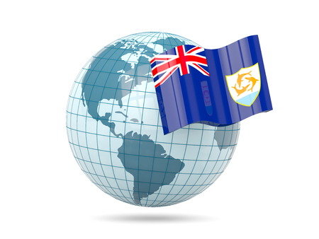 anguilla: Globe with flag of anguilla. 3D illustration