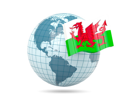 wales: Globe with flag of wales. 3D illustration