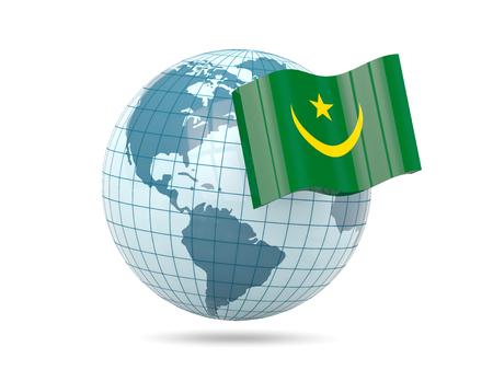 mauritania: Globe with flag of mauritania. 3D illustration