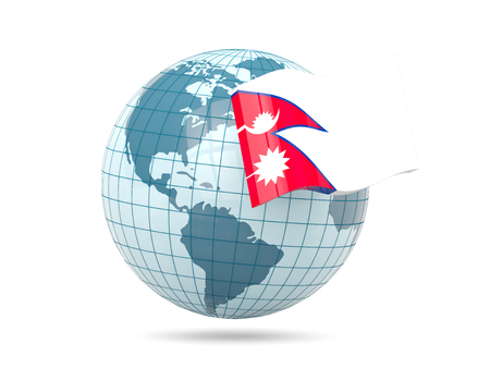 nepal: Globe with flag of nepal. 3D illustration