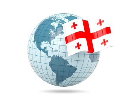 georgia: Globe with flag of georgia. 3D illustration Stock Photo