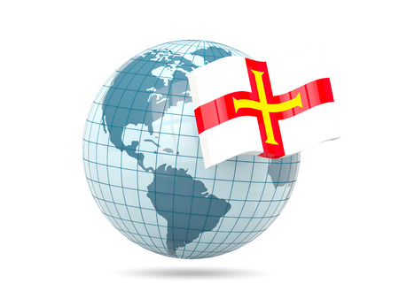 guernsey: Globe with flag of guernsey. 3D illustration