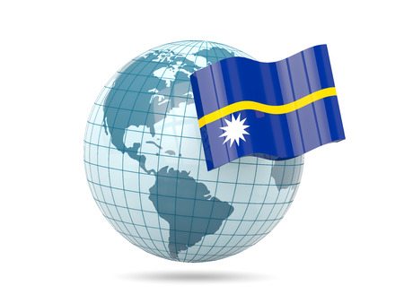 nauru: Globe with flag of nauru. 3D illustration Stock Photo