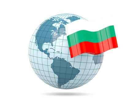 bulgaria: Globe with flag of bulgaria. 3D illustration