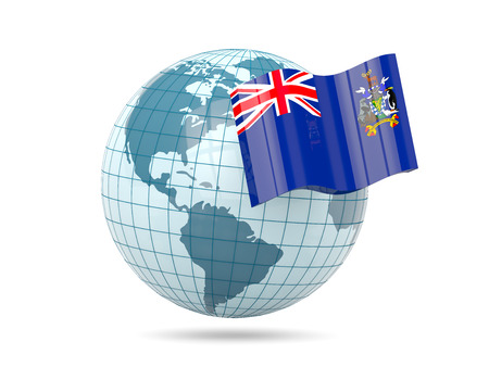 south georgia: Globe with flag of south georgia and the south sandwich islands. 3D illustration Stock Photo
