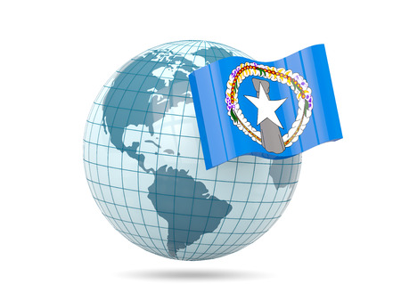 mariana: Globe with flag of northern mariana islands. 3D illustration