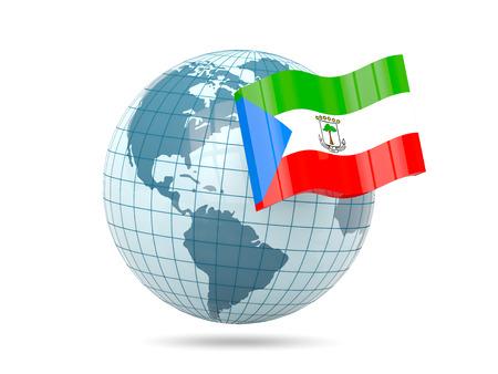 equatorial guinea: Globe with flag of equatorial guinea. 3D illustration Stock Photo