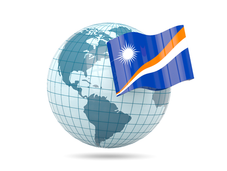 marshall: Globe with flag of marshall islands. 3D illustration Stock Photo