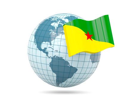 french guiana: Globe with flag of french guiana. 3D illustration