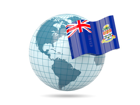 cayman: Globe with flag of cayman islands. 3D illustration