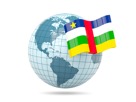 central african republic: Globe with flag of central african republic. 3D illustration