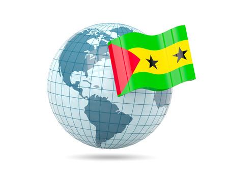 principe: Globe with flag of sao tome and principe. 3D illustration