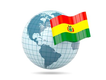 bolivia: Globe with flag of bolivia. 3D illustration Stock Photo