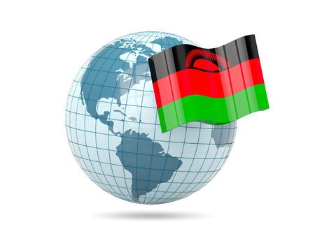malawi: Globe with flag of malawi. 3D illustration