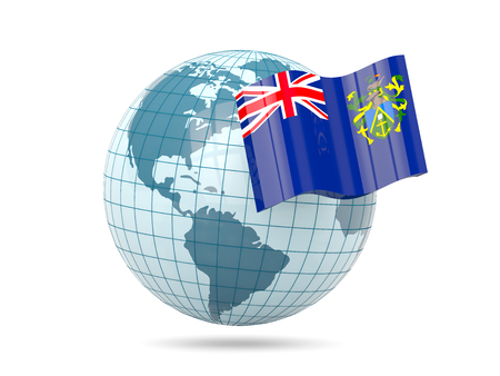 pitcairn: Globe with flag of pitcairn islands. 3D illustration