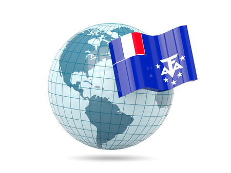 territories: Globe with flag of french southern territories. 3D illustration