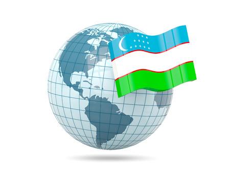 uzbekistan: Globe with flag of uzbekistan. 3D illustration