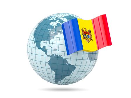 moldova: Globe with flag of moldova. 3D illustration Stock Photo