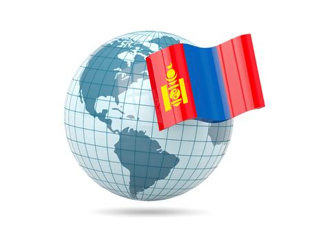 mongolia: Globe with flag of mongolia. 3D illustration Stock Photo