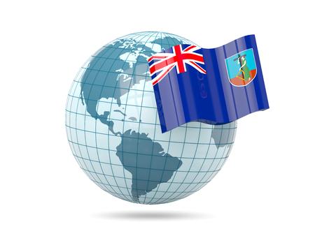 montserrat: Globe with flag of montserrat. 3D illustration Stock Photo