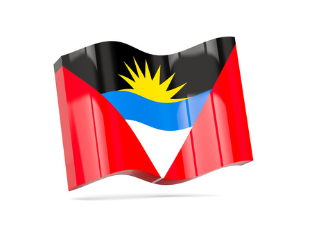 barbuda: Wave icon with flag of antigua and barbuda. 3D illustration