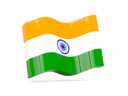 india 3d: Wave icon with flag of india. 3D illustration Stock Photo