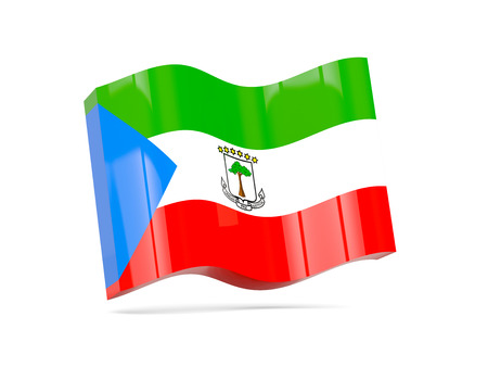 equatorial: Wave icon with flag of equatorial guinea. 3D illustration