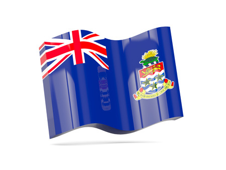 cayman islands: Wave icon with flag of cayman islands. 3D illustration