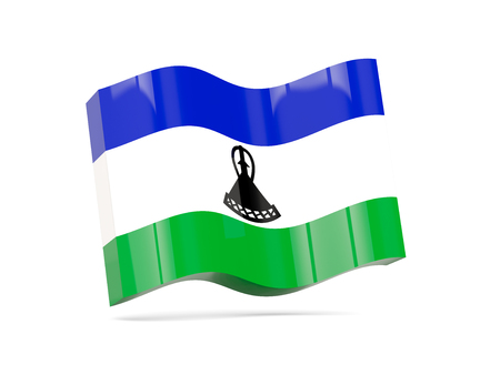 lesotho: Wave icon with flag of lesotho. 3D illustration Stock Photo