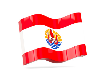 flag french icon: Wave icon with flag of french polynesia. 3D illustration