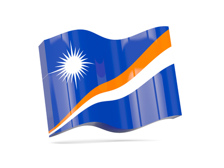 marshall: Wave icon with flag of marshall islands. 3D illustration