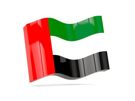 emirates: Wave icon with flag of united arab emirates. 3D illustration