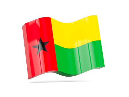 guinea bissau: Wave icon with flag of guinea bissau. 3D illustration