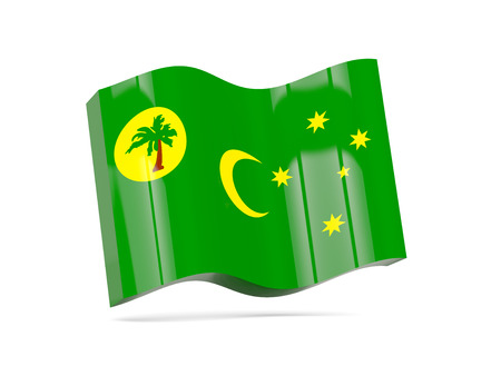 cocos: Wave icon with flag of cocos islands. 3D illustration Stock Photo