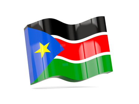 south sudan: Wave icon with flag of south sudan. 3D illustration Stock Photo