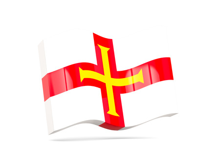 guernsey: Wave icon with flag of guernsey. 3D illustration