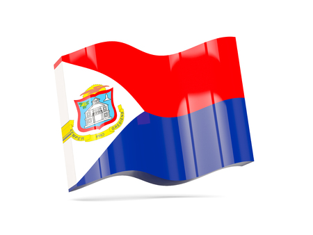 sint: Wave icon with flag of sint maarten. 3D illustration