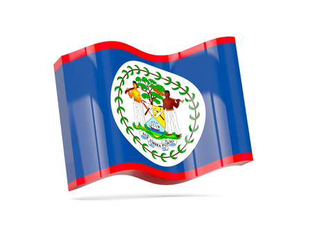 belize: Wave icon with flag of belize. 3D illustration Stock Photo