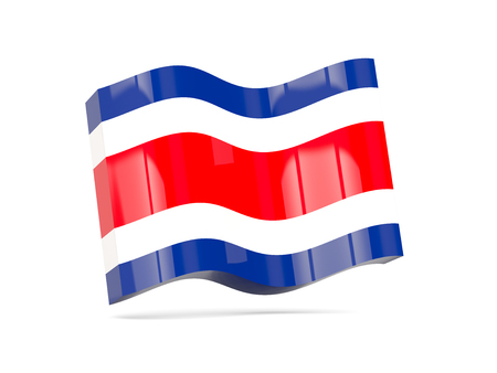 costa rica: Wave icon with flag of costa rica. 3D illustration