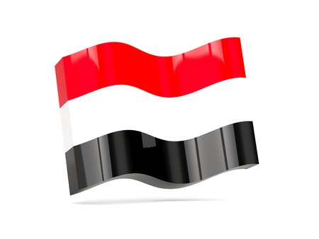 yemen: Wave icon with flag of yemen. 3D illustration Stock Photo