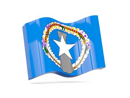 mariana: Wave icon with flag of northern mariana islands. 3D illustration