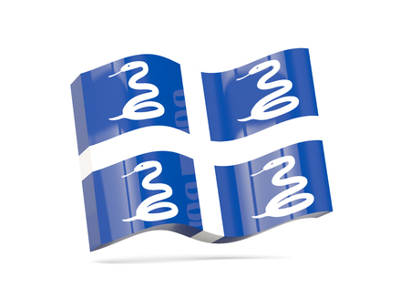 martinique: Wave icon with flag of martinique. 3D illustration