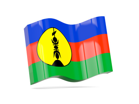 new caledonia: Wave icon with flag of new caledonia. 3D illustration