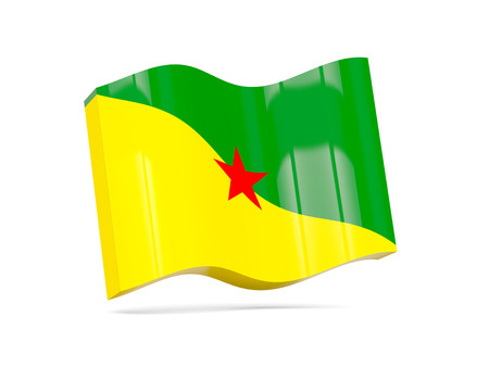 guiana: Wave icon with flag of french guiana. 3D illustration