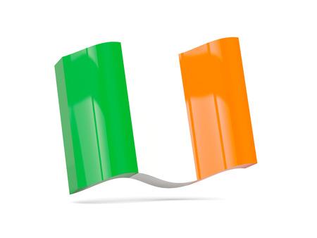 ireland flag: Wave icon with flag of ireland. 3D illustration